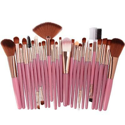 Makeup Brushes Foundation Powder Blush Eye Shadow & Brow Lash Fan Lip Face 25pcs