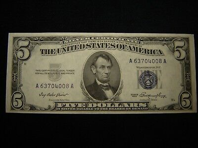 1953 $5 SILVER Certificate Xf / Au Circulated Very Crisp Note ...