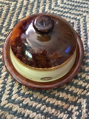 Vintage Bendigo Pottery Cheese Dish Lidded Cover Brown / Cream