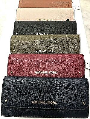 Michael Kors Hayes Flat Skinny Mercer Leather Wallet Gold Tone Hardware 6 Colors