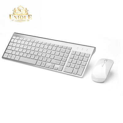 Wireless Keyboard And Mouse Combo Set 2.4G For Mac Apple Pc  Silver  Full Size