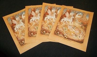 Antioch Publishing bookplates Unicorn and fairies Set of 4