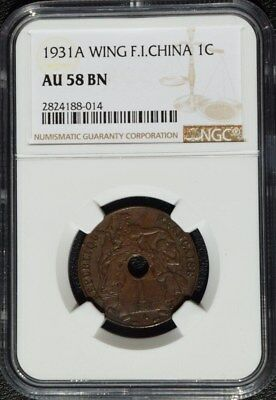1931 A French Indo China 1 Cent, Scarce Wing Variety, NGC AU 58 Cochin, Vietnam