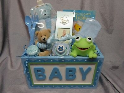 Blue Baby Gift Basket- Teddy Bear,soap Dish, Frame, Paci, Lullaby Cd, Cap-New