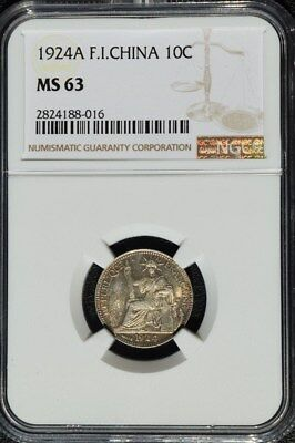 1924 A French Indo China 10 Cents, NGC MS 63 Cochin, Vietnam