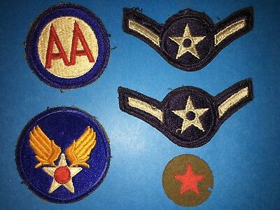 Vintage Authentic Original US WWII 5 Patch Lot  Army Air Force Air Corp