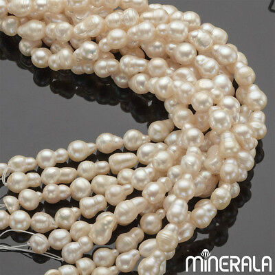 "[WHOLESALE] NATURAL FRESHWATER PEARL BAROQUE SHAPE 10x14mm BEADS 15.5"" STRAND"