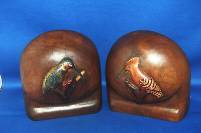 Pair of unusual antique Victorian carved and painted chunky wooden bird bookends