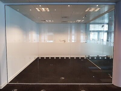 3.64 METRE WIDE OFFICE or ROOM DIVIDING GLASS PARTITION WITH 4 x PANELS & FRAMES