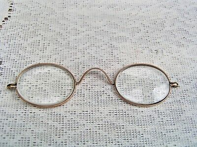 Vintage Hallmarked Gold Oval Spectacles Reading Glasses ~~ missing cable arms