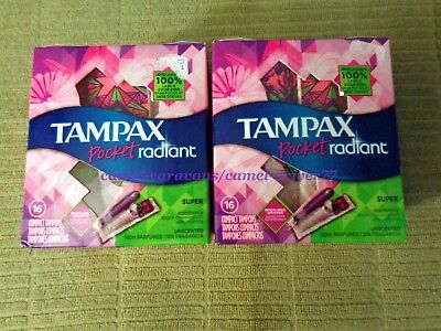 Lot of 2 TAMPAX Pocket RADIANT Compact Tampons SUPER Unscented 16ct