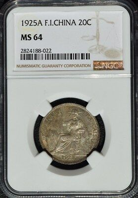 1925 A French Indo China 20 Cents, NGC MS 64, None Finer @ NGC, Cochin, Vietnam