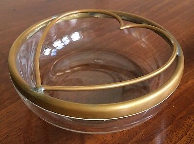 An Antique Glass And Brass Heart Shaped Ash Tray, c.1910.
