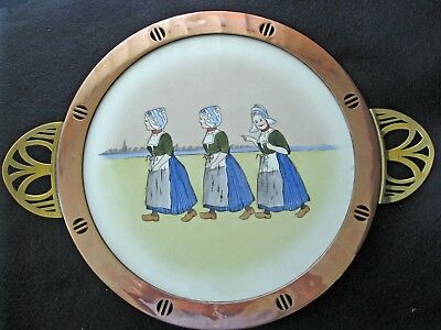 Antique Large Wurttemberg Copper Brass & Painted Tile Tray Girls Wooden Shoes
