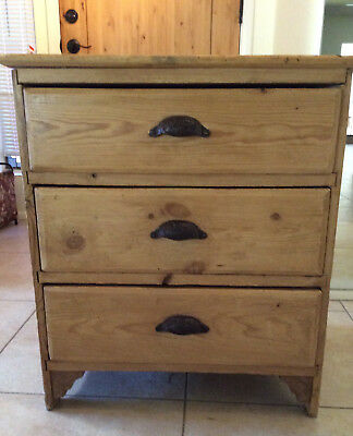 Antique Pine Three Drawer Nightstand with Cup Pulls Circa 1900