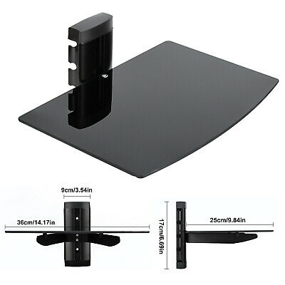 Black Glass Wall Mount Storage Display Floating Shelf Home Film Room Office