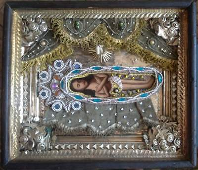 """Antique 19c Russian Orthodox Hand Painted Wood Icon """" the Shroud"""""""