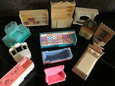 Dolls House Furniture Assorted Old Plastic Items Bookcase Dresser Bath Bed