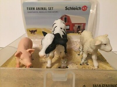 Schleich Farm Animal Set-Pig-Cow-Lamb-NEW in Original Plastic Container SEALED!