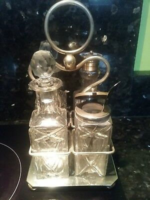 Vintage Epns Square, Cut Glass, 4 Piece Cruet Set On Stand On Bun Feet + Spoon