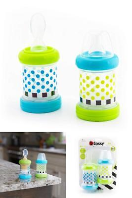 Sassy Baby Food Nurser Bottles 4oz Infant Cereal Feeder 2 Count