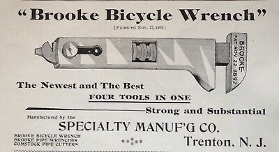 """1895 Ad(30)~Specialty Mfg. Co. Trenton, Nj. """"brooke Bicycle Wrench"""""""