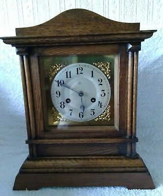 Quality Antigue Bracket Mantel Clock by Junghans Germany Gong Striking .