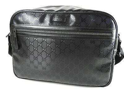 862c083dbe40 Auth GUCCI GG Imprime Messenger Shoulder Bag PVC Leather Black 211107 A-6282