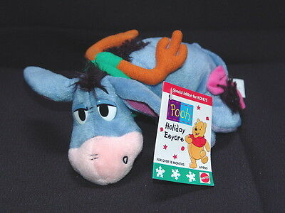 Disney Mattel Holiday Pooh Eeyore PLush Kohl's Exclusive beanie Plush Stuffed NE
