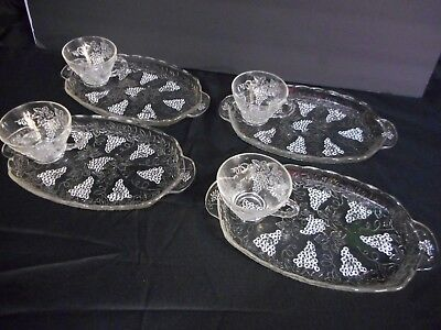 Vintage Snack Set Trays 8 Pieces Anchor Hocking Harvest Grape Design Clear Glass