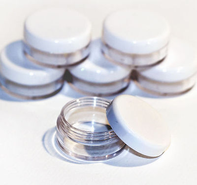 50 x 5ml Screw Top Craft Pots Clear Base with White Lid glitter lip balm Jdw-50