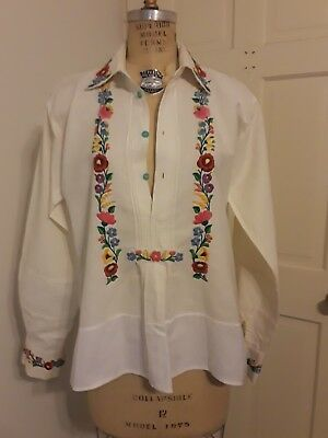 Vintage Unisex Hungarian European Hand Embroidered Kalocsa Shirt