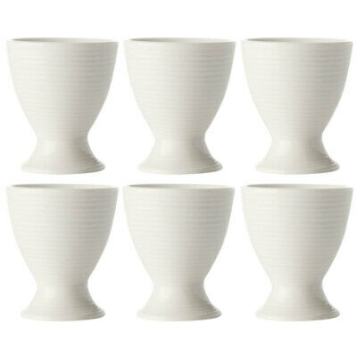 6PK Casa Domani Casual White Evolve Boiled Egg Cup/Porcelain/Eggs Holder/Stand
