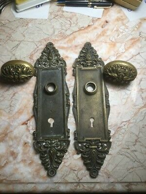 Antique 1903 Brass Oval Door Knobs & Plates FANCY Repousse Roses Custom