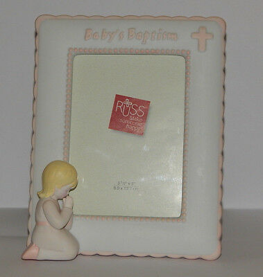 """*Baby's Baptism"""" Ceramic Picture Frame White & Pink Girl Praying 3½ x 5 by Russ"""
