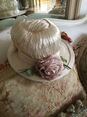 SHABBY ANTIQUE Vtg STRAW LIKE Hat Pink Millinery Rose Victorian OLD