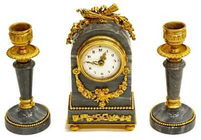 Antique French Louis XVI Mantel Clock & Candle Garniture Set!  petite miniature