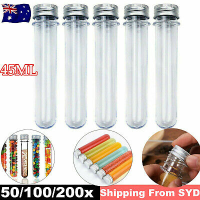 UP 200 Clear Plastic Test Tube Screw Cap Bath Salt Container Jelly Candy Bottle