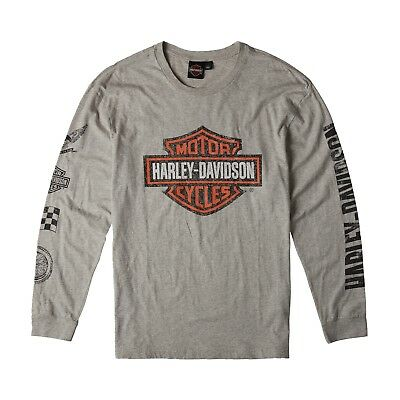 Harley-Davidson Genuine Shirt Grey Moto Logo Long Sleeve Tee