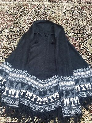 Peruvian Black Poncho Cape with Scarf Black with traditional detailing and tie