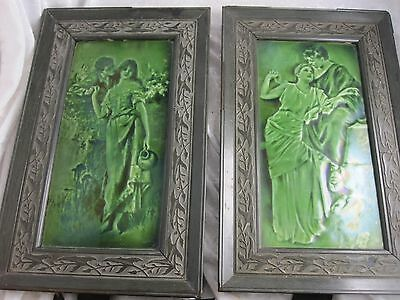 Large Antique Arts and Crafts Art nouveau Framed Tiles (Pair)