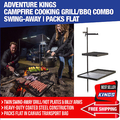 Adventure Kings Kings Campfire Cooking Grill/BBQ Combo Swing-Away w/ Billy Arms