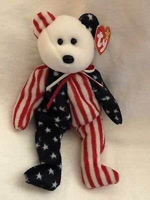 Ty Beanie Babies Retired 1999 SPANGLE - the American Bear (White Face)
