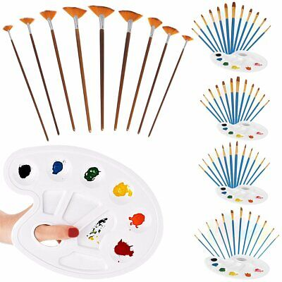 12Pcs Nylon Hair Acrylic Watercolor Pointed Tip Oil Artists Painting Brush Set