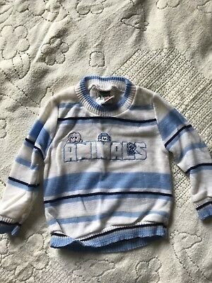 Vintage Bull Frog Knits Sweater Sz 6 9 M Animals Blue Boys Baby Striped