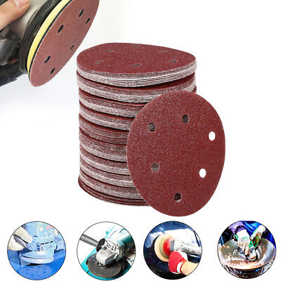 10/50X 5'' 125mm 40 - 2000 Grit Hook Loop Mixed Sanding Disc Sandpaper With Hole