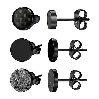 3 Pairs Stainless Steel Mens Women Stud Earrings Black Tunnel Pierced Screw Back