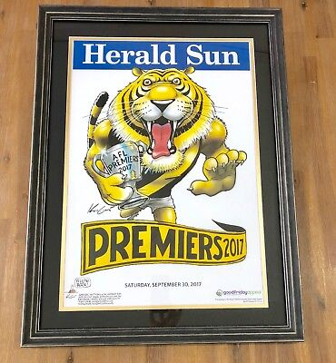 Framed 2017  Richmond  AFL Premiers Herald Sun Knight posters Premiership Poster