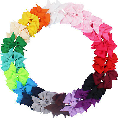 40pcs Baby Girls Hair Bows For  Kids Hair Bands Alligator Hair Clips In Pairs
