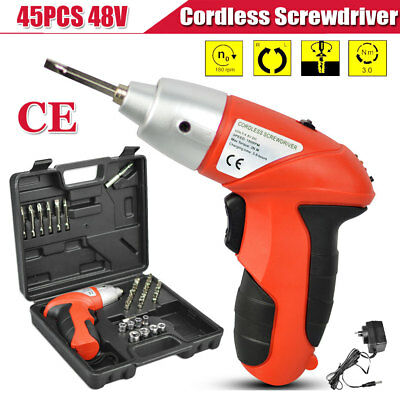 45 in 1 Electric Drill Driver Bits Set Screwdriver Battery & Recharger Cordless